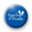 Expecting a Miracle Baby Boy Badge