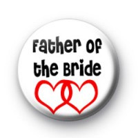 Red Love Hearts Father of the Bride badge