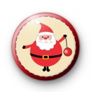 Festive Red Father Christmas Badge