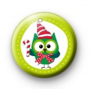Festive Green Owl Badge