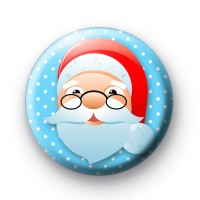 Festive Happy Blue Santa Badge