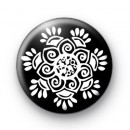 Floral Pattern Black and White Badges