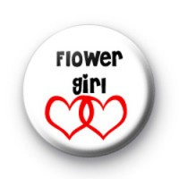 Red Love Heart Flower Girl Badge