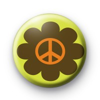 Green Floral Peace Symbol Badge
