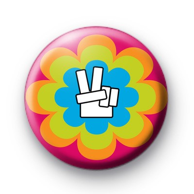 Bright Floral Peace Hand Badges