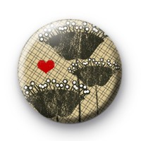 Flowers and Hearts Button Badge
