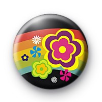 Hippie Flowers and Rainbow button badge