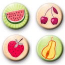 Set of 4 Summer Fruits Button Badges