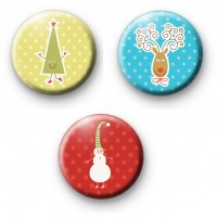 Set of 3 Cute Fun Christmas Badges
