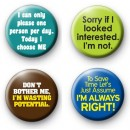 Set of 4 Funny Slogan Button Badges