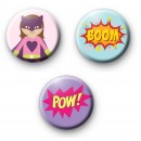 Set of 3 Girl Superhero Pin Badges