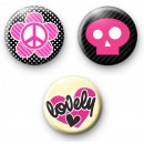 Cute Pink Girly Set of 3 Badges