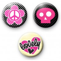 Cute Pink Girly Set of 3 Badges thumbnail