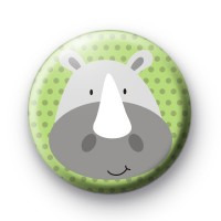 Big Grey Rhino Button Badge