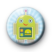 Green Alien Robot Badge