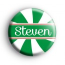 Custom Candy Cane Name Green and White Badge
