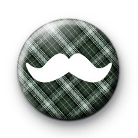 Green and White Moustache Badge