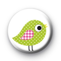 Green Dotty Bird Button Badges