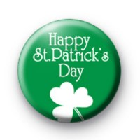 Green Happy St Patrick's Day Badges