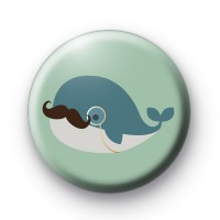 Moustache Blue Whale Badge