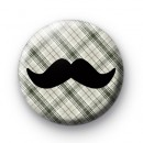 Green Tartan Movember Moustache badge