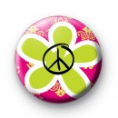 Green Peace Flower Peace Symbol badges