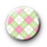 Cute Green and Pink Argyle Pattern Badge