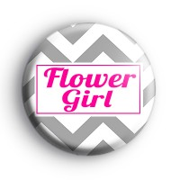 Grey and Pink Chevron Flower Girl Badge