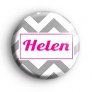 Grey and Pink Chevron Custom Name Badge