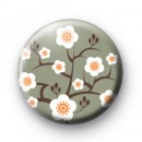 Grey Oriental Flower Blossom Badges