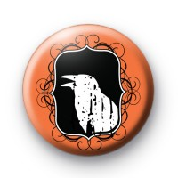Halloween Spooky Raven Button Badge