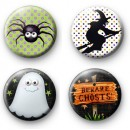 Set of 4 Spooky Halloween Button Badges