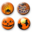 Set of 4 Orange Halloween Badges