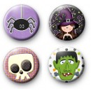 Set of 4 Bright Halloween Button Badges