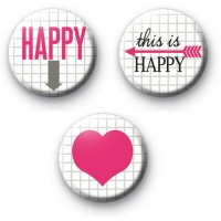 Set of 3 Happiness Badges