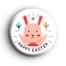 Happy Easter Pink Bunny Badge