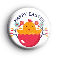 Happy Easter Cute Yellow Chick Badge