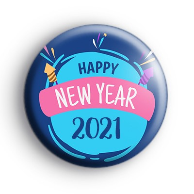 Happy New Year 2021 Pink and Blue Badge