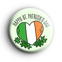 Happy St Patricks Day Irish Heart Flag Badge