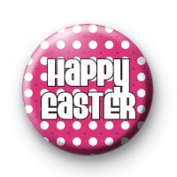Cute Pink Happy Easter Badges