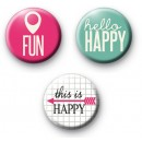 Set of 3 Fun Happiness Badges