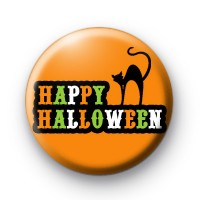Happy Halloween Black Cat Badge