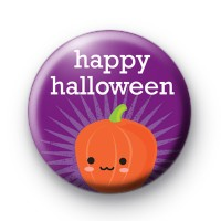 Purple Happy Halloween Pumpkin Badge