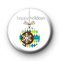 Happy Holidays Xmas Bauble Badge