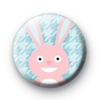 Happy Pink Easter Bunny Badge