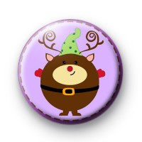 Happy Reindeer Christmas Badges