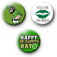 Set of 3 Cheeky St Patrick's Day Badges