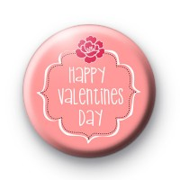 Pink Floral Happy Valentines Day Badges