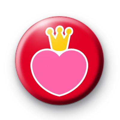 Pink Heart and Crown Button Badges