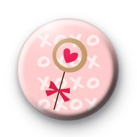 Heart Lolly Pop Button Badge